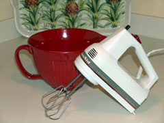 hand mixer and mixing bowl