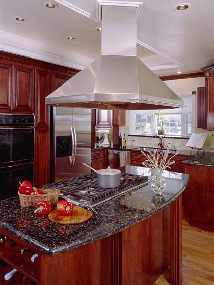 island cooktop with range hood