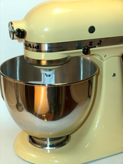yellow KitchenAid stand mixer